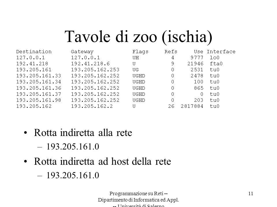 Programmazione su Reti -- Dipartimento di Informatica ed Appl. -- Università di Salerno 11 Tavole di zoo (ischia) Rotta indiretta alla rete –193.205.1