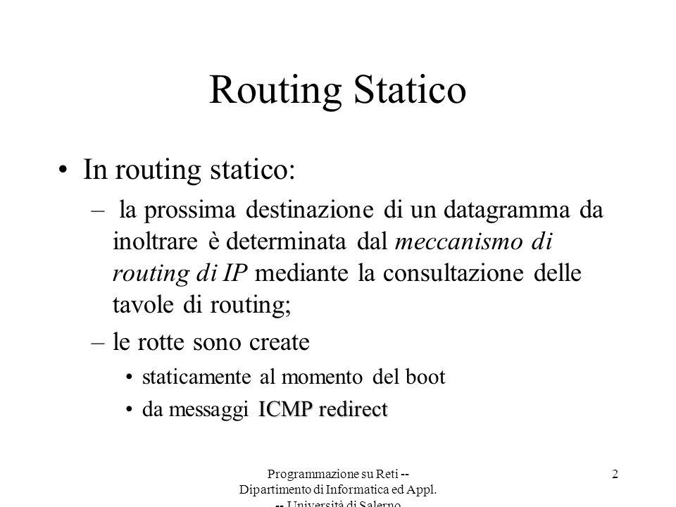 Programmazione su Reti -- Dipartimento di Informatica ed Appl. -- Università di Salerno 2 Routing Statico In routing statico: – la prossima destinazio