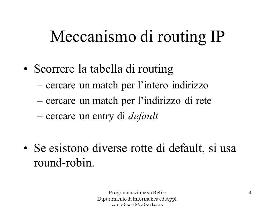 Programmazione su Reti -- Dipartimento di Informatica ed Appl. -- Università di Salerno 4 Meccanismo di routing IP Scorrere la tabella di routing –cer