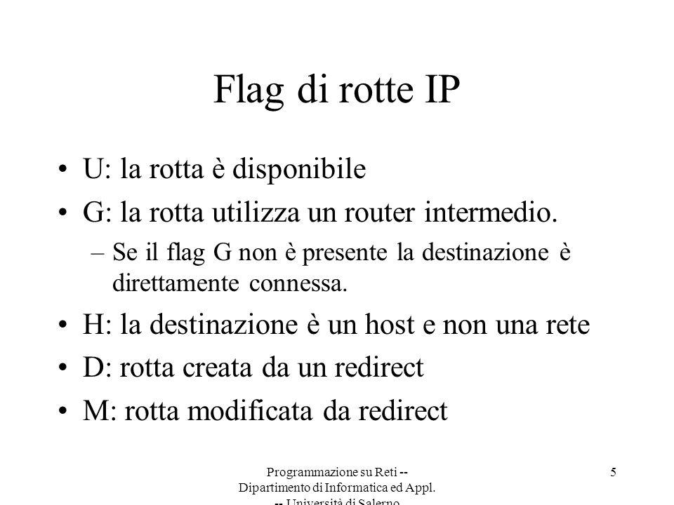 Programmazione su Reti -- Dipartimento di Informatica ed Appl. -- Università di Salerno 5 Flag di rotte IP U: la rotta è disponibile G: la rotta utili