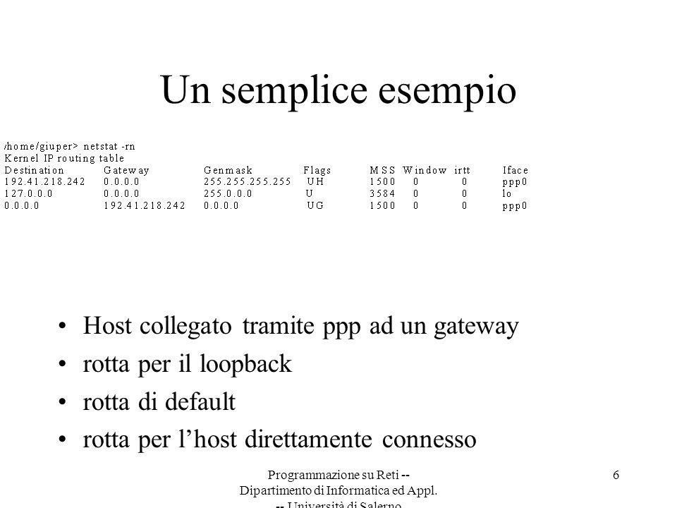 Programmazione su Reti -- Dipartimento di Informatica ed Appl. -- Università di Salerno 6 Un semplice esempio Host collegato tramite ppp ad un gateway