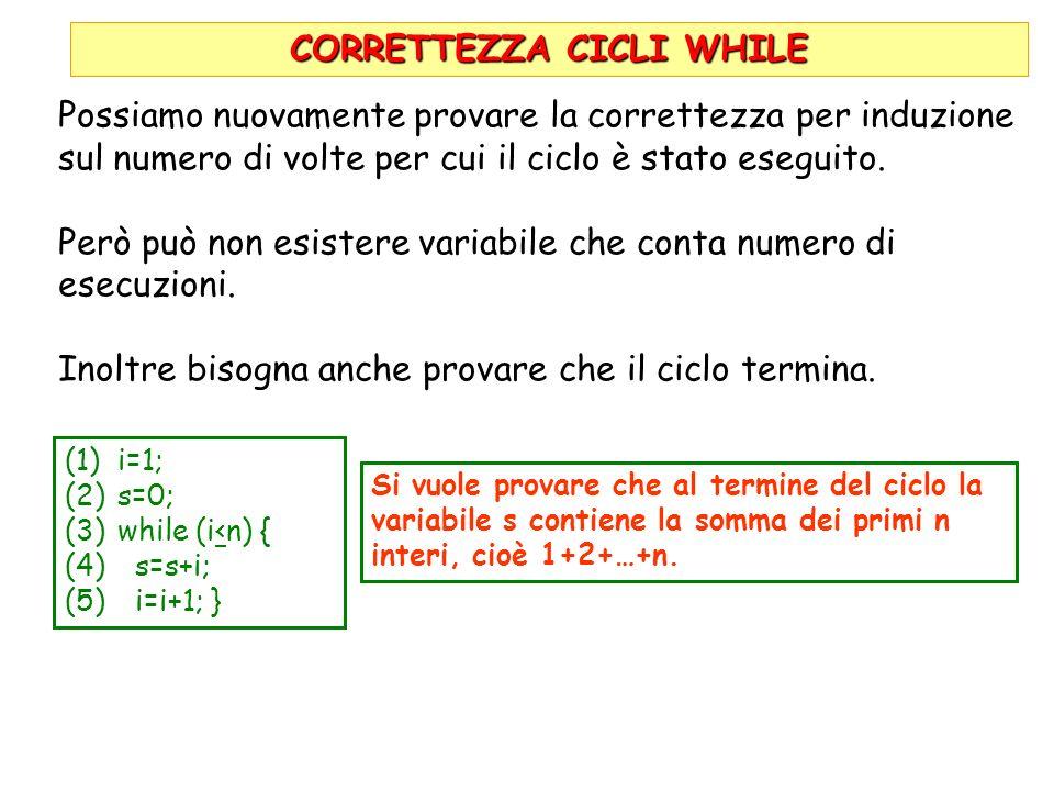 CORRETTEZZA CICLI WHILE (1)i=1; (2)s=0; (3)while (i<n) { (4) s=s+i; (5) i=i+1; } Si vuole provare che al termine del ciclo la variabile s contiene la somma dei primi n interi, cioè 1+2+…+n.