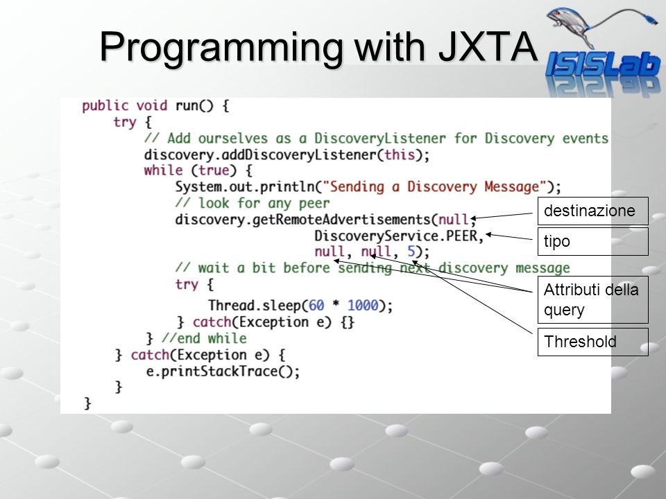 Programming with JXTA destinazione tipo Attributi della query Threshold