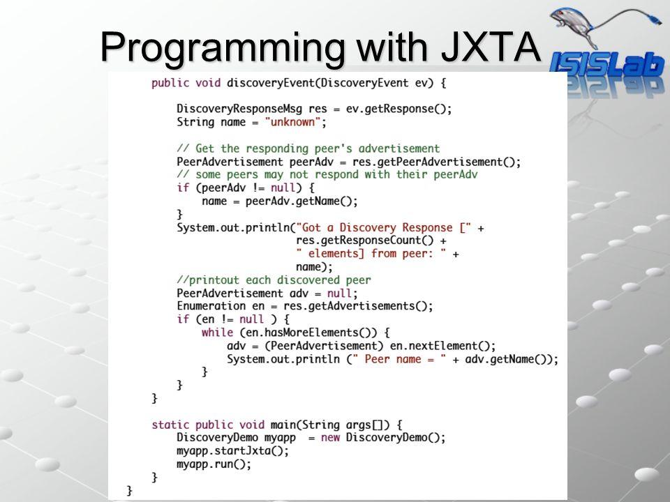 Programming with JXTA