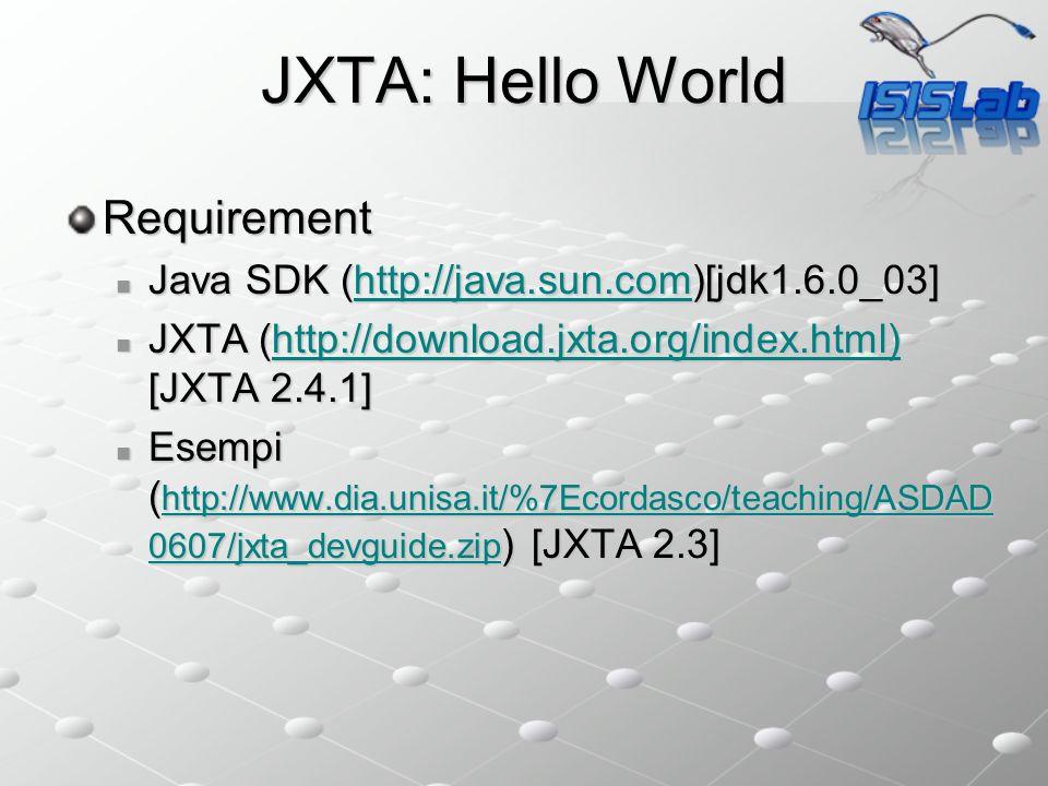 JXTA: Hello World Requirement Java SDK (http://java.sun.com)[jdk1.6.0_03] Java SDK (http://java.sun.com)[jdk1.6.0_03]http://java.sun.com JXTA (http://download.jxta.org/index.html) [JXTA 2.4.1] JXTA (http://download.jxta.org/index.html) [JXTA 2.4.1]http://download.jxta.org/index.html) Esempi ( http://www.dia.unisa.it/%7Ecordasco/teaching/ASDAD 0607/jxta_devguide.zip ) [JXTA 2.3] Esempi ( http://www.dia.unisa.it/%7Ecordasco/teaching/ASDAD 0607/jxta_devguide.zip ) [JXTA 2.3] http://www.dia.unisa.it/%7Ecordasco/teaching/ASDAD 0607/jxta_devguide.zip http://www.dia.unisa.it/%7Ecordasco/teaching/ASDAD 0607/jxta_devguide.zip