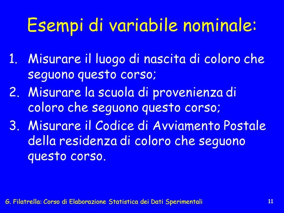 G. Filatrella: Corso di Elaborazione Statistica dei Dati Sperimentali 11 Esempi di variabile nominale: 1.Misurare il luogo di nascita di coloro che se
