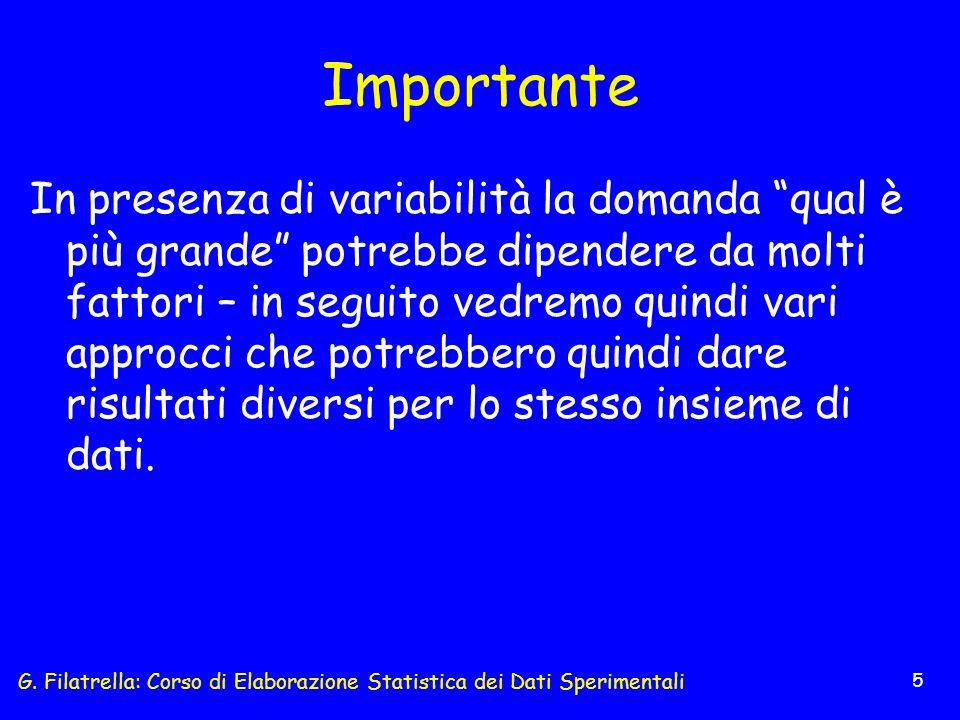 G. Filatrella: Corso di Elaborazione Statistica dei Dati Sperimentali 5 Importante In presenza di variabilità la domanda qual è più grande potrebbe di