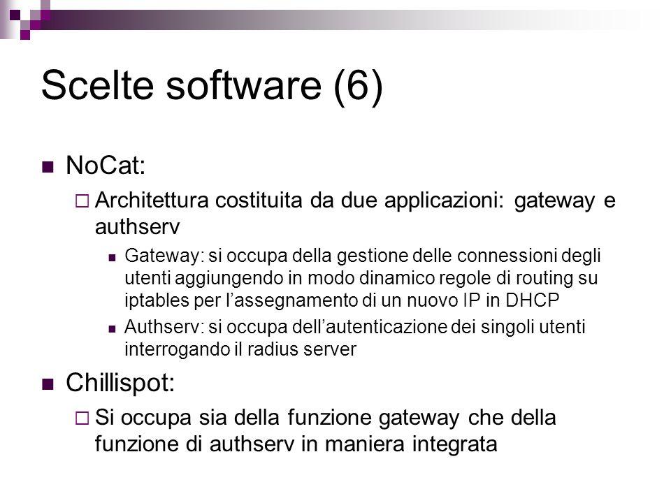 Scelte software (6) NoCat: Architettura costituita da due applicazioni: gateway e authserv Gateway: si occupa della gestione delle connessioni degli u