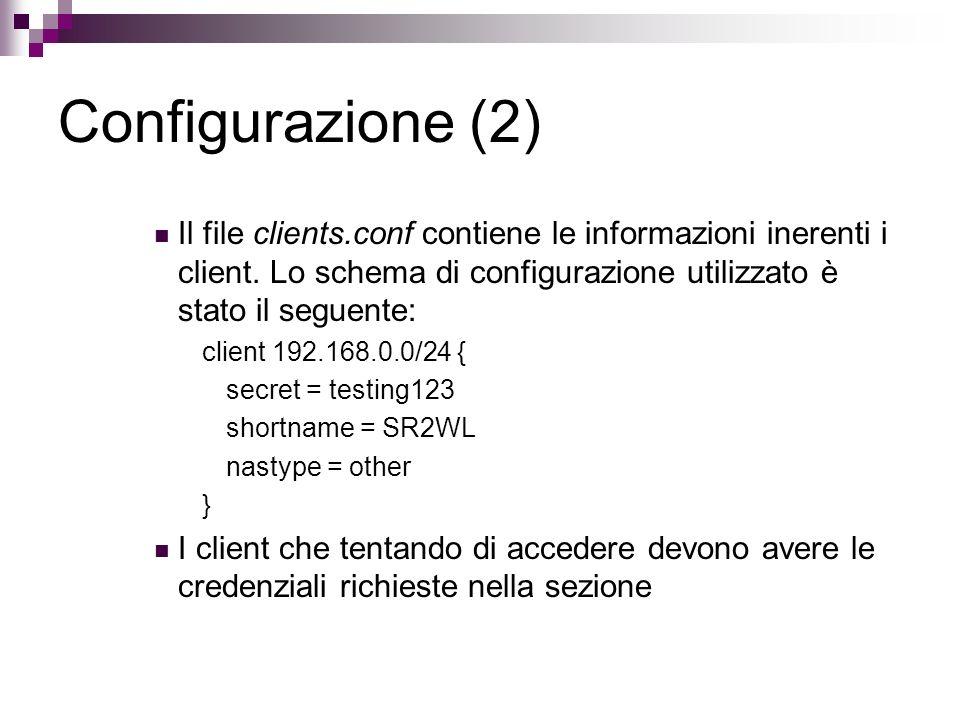 Configurazione (2) Il file clients.conf contiene le informazioni inerenti i client. Lo schema di configurazione utilizzato è stato il seguente: client
