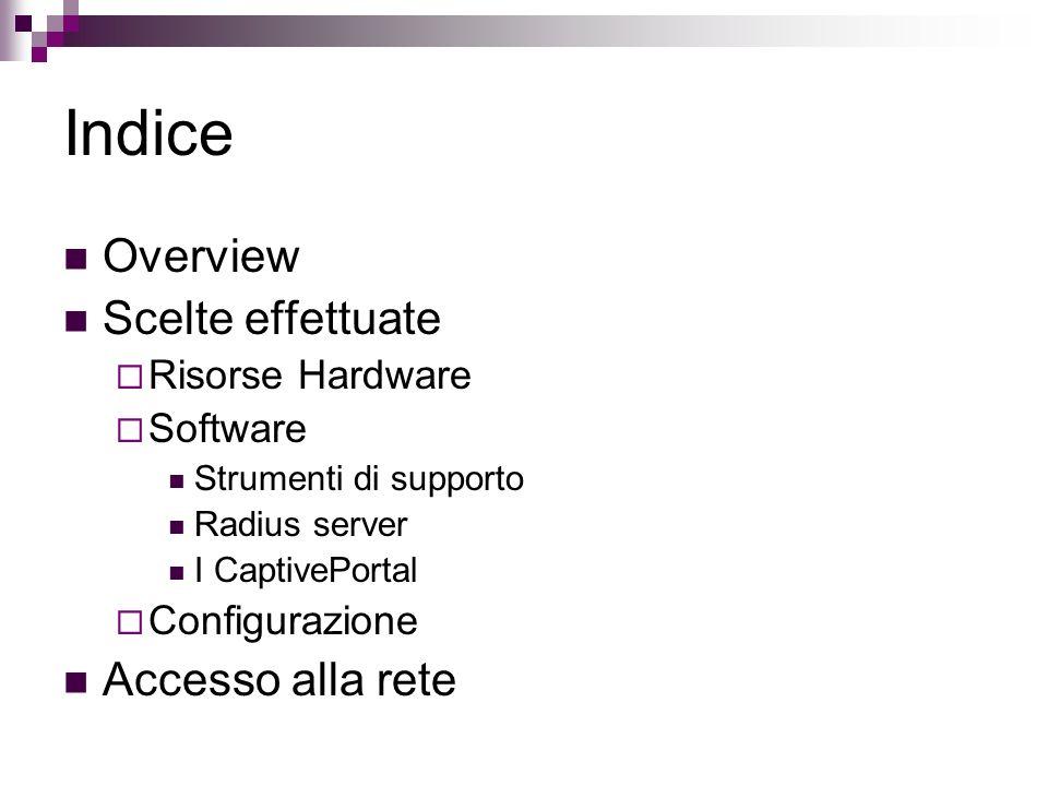 Indice Overview Scelte effettuate Risorse Hardware Software Strumenti di supporto Radius server I CaptivePortal Configurazione Accesso alla rete