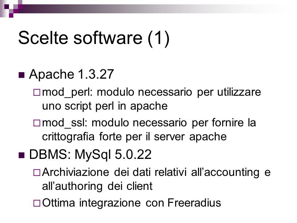 Scelte software (1) Apache 1.3.27 mod_perl: modulo necessario per utilizzare uno script perl in apache mod_ssl: modulo necessario per fornire la critt