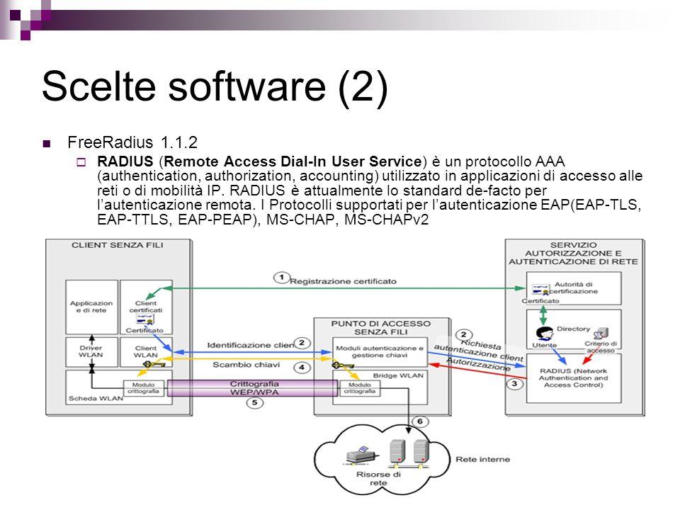 Scelte software (2) FreeRadius 1.1.2 RADIUS (Remote Access Dial-In User Service) è un protocollo AAA (authentication, authorization, accounting) utili
