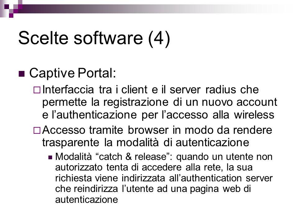 Scelte software (4) Captive Portal: Interfaccia tra i client e il server radius che permette la registrazione di un nuovo account e lauthenticazione p