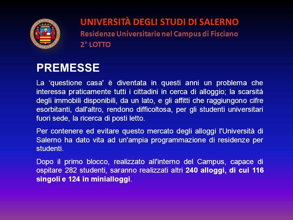 UNIVERSITÀ DEGLI STUDI DI SALERNO Residenze Universitarie nel Campus di Fisciano 2° LOTTO PREMESSE La questione casa' è diventata in questi anni un pr