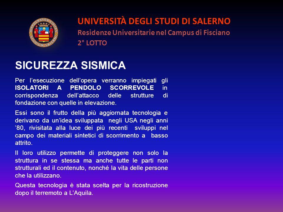 UNIVERSITÀ DEGLI STUDI DI SALERNO Residenze Universitarie nel Campus di Fisciano 2° LOTTO SICUREZZA SISMICA Per lesecuzione dellopera verranno impiega