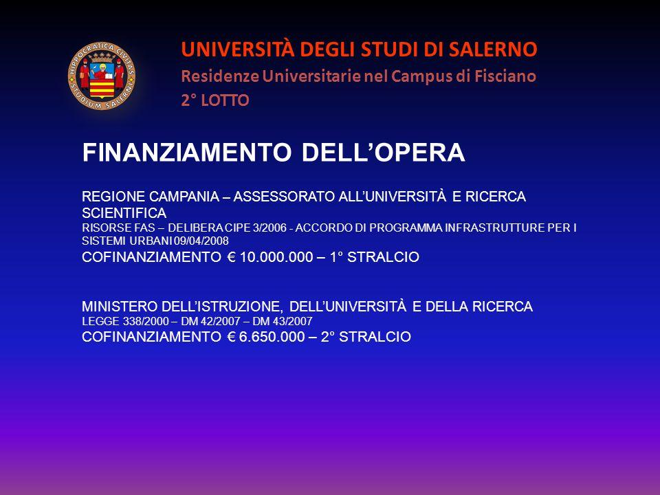 UNIVERSITÀ DEGLI STUDI DI SALERNO Residenze Universitarie nel Campus di Fisciano 2° LOTTO FINANZIAMENTO DELLOPERA REGIONE CAMPANIA – ASSESSORATO ALLUN