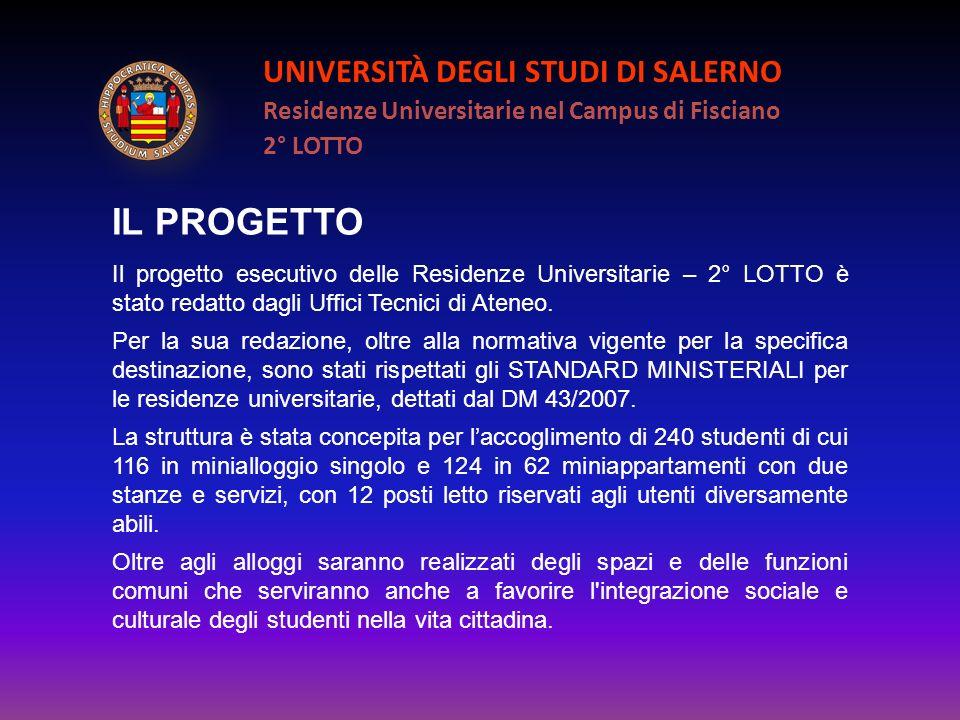 UNIVERSITÀ DEGLI STUDI DI SALERNO Residenze Universitarie nel Campus di Fisciano 2° LOTTO IL PROGETTO Il progetto esecutivo delle Residenze Universita