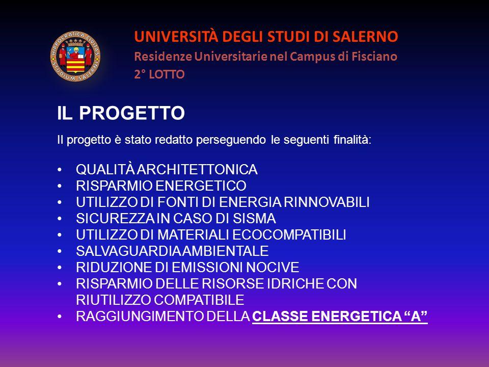 UNIVERSITÀ DEGLI STUDI DI SALERNO Residenze Universitarie nel Campus di Fisciano 2° LOTTO IL PROGETTO Il progetto è stato redatto perseguendo le segue