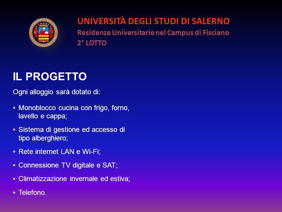 UNIVERSITÀ DEGLI STUDI DI SALERNO Residenze Universitarie nel Campus di Fisciano 2° LOTTO IL PROGETTO Ogni alloggio sarà dotato di: Monoblocco cucina