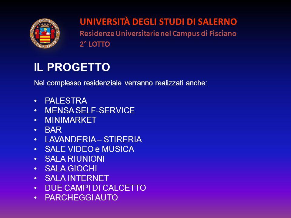 UNIVERSITÀ DEGLI STUDI DI SALERNO Residenze Universitarie nel Campus di Fisciano 2° LOTTO IL PROGETTO Nel complesso residenziale verranno realizzati a