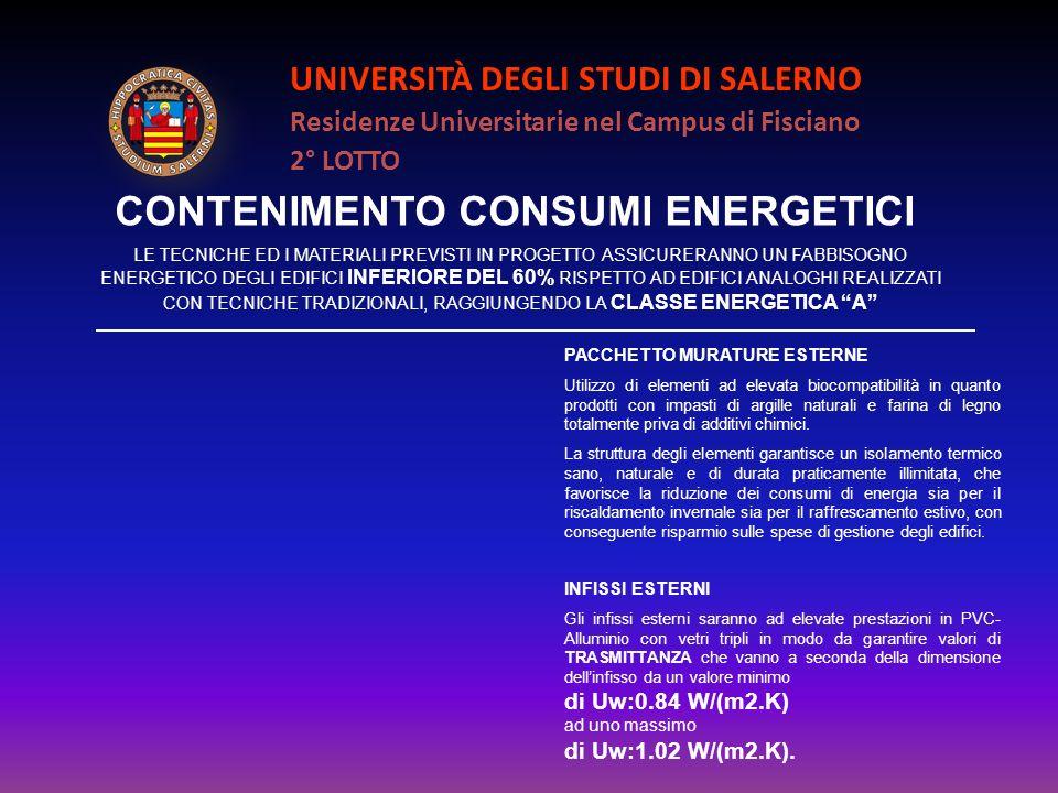 UNIVERSITÀ DEGLI STUDI DI SALERNO Residenze Universitarie nel Campus di Fisciano 2° LOTTO CONTENIMENTO CONSUMI ENERGETICI PACCHETTO MURATURE ESTERNE U