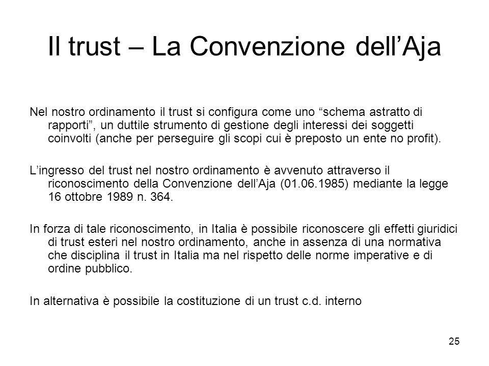 25 Il trust – La Convenzione dellAja Nel nostro ordinamento il trust si configura come uno schema astratto di rapporti, un duttile strumento di gestio