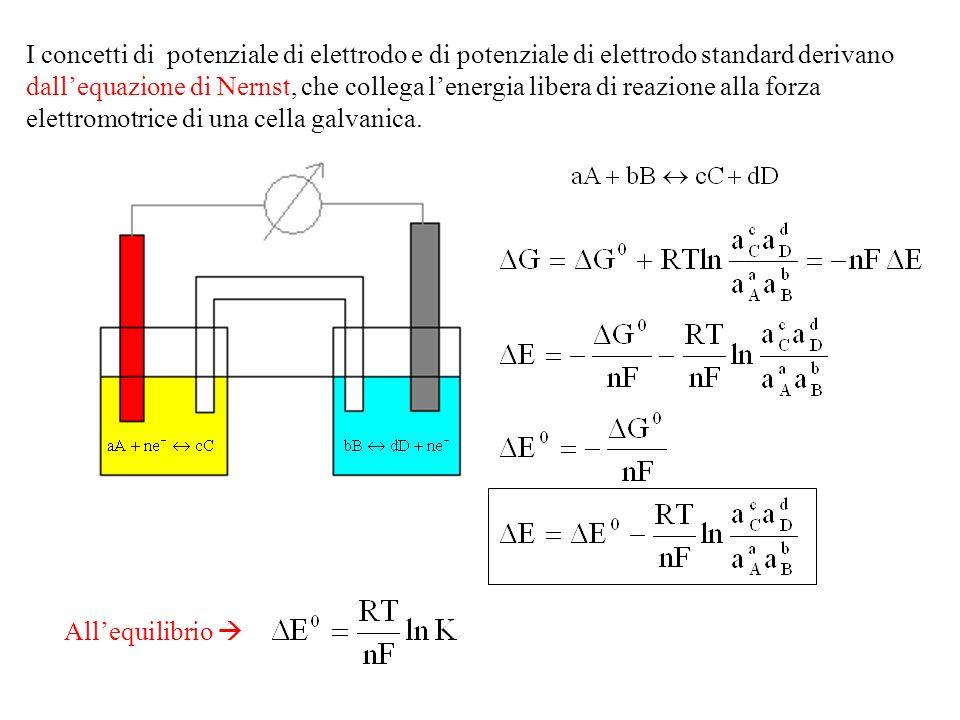 I concetti di potenziale di elettrodo e di potenziale di elettrodo standard derivano dallequazione di Nernst, che collega lenergia libera di reazione alla forza elettromotrice di una cella galvanica.