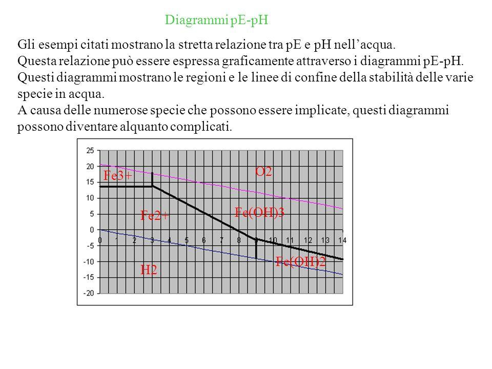 Diagrammi pE-pH Gli esempi citati mostrano la stretta relazione tra pE e pH nellacqua.