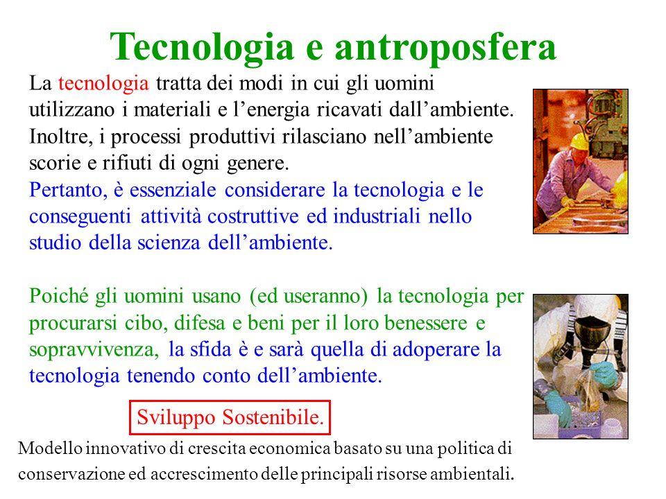 Tecnologia e antroposfera La tecnologia tratta dei modi in cui gli uomini utilizzano i materiali e lenergia ricavati dallambiente.