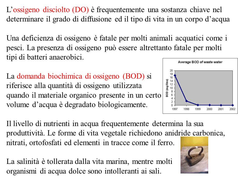 Lossigeno disciolto (DO) è frequentemente una sostanza chiave nel determinare il grado di diffusione ed il tipo di vita in un corpo dacqua Una deficienza di ossigeno è fatale per molti animali acquatici come i pesci.