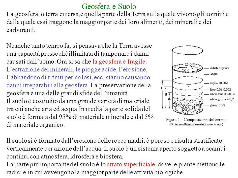 Geosfera e Suolo La geosfera, o terra emersa,è quella parte della Terra sulla quale vivono gli uomini e dalla quale essi traggono la maggior parte dei loro alimenti, dei minerali e dei carburanti.
