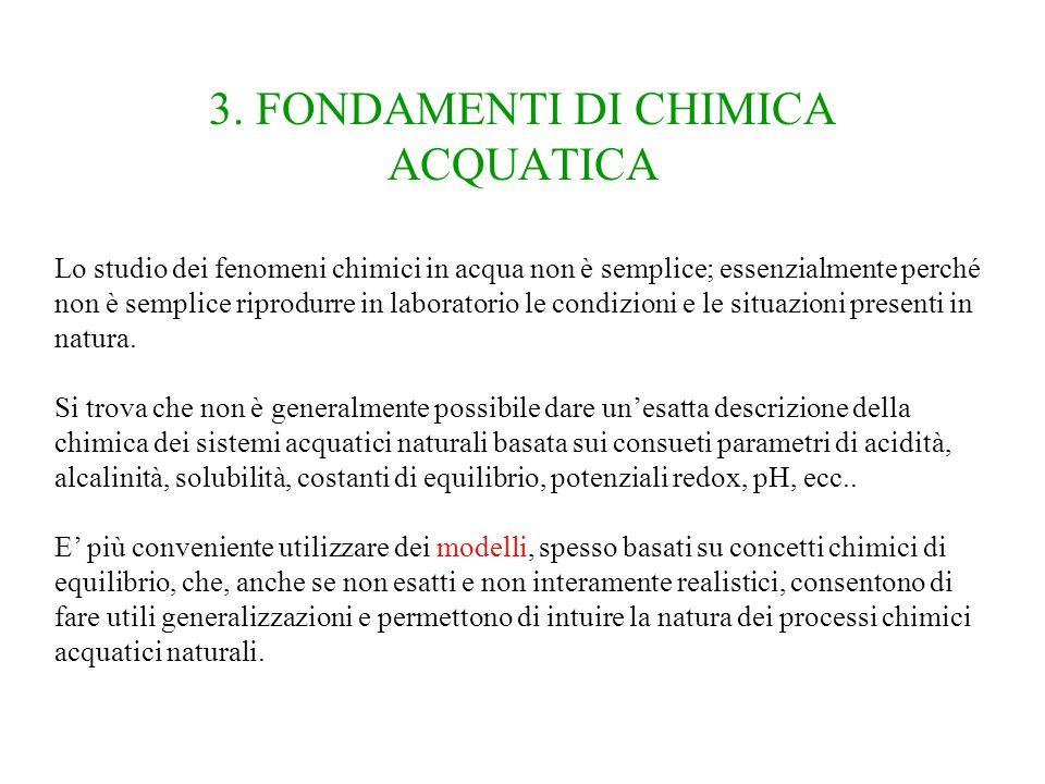 3. FONDAMENTI DI CHIMICA ACQUATICA Lo studio dei fenomeni chimici in acqua non è semplice; essenzialmente perché non è semplice riprodurre in laborato