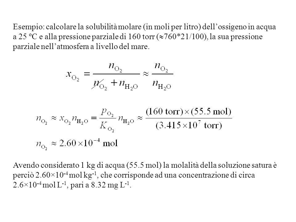 Esempio: calcolare la solubilità molare (in moli per litro) dellossigeno in acqua a 25 ºC e alla pressione parziale di 160 torr ( 760*21/100), la sua pressione parziale nellatmosfera a livello del mare.