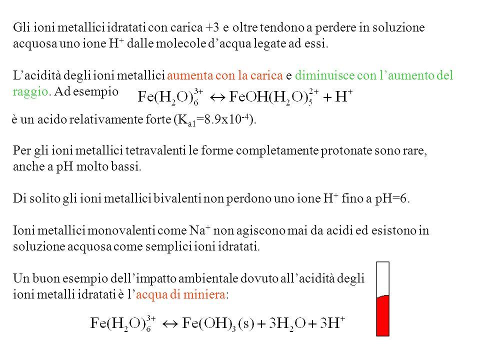 Gli ioni metallici idratati con carica +3 e oltre tendono a perdere in soluzione acquosa uno ione H + dalle molecole dacqua legate ad essi.