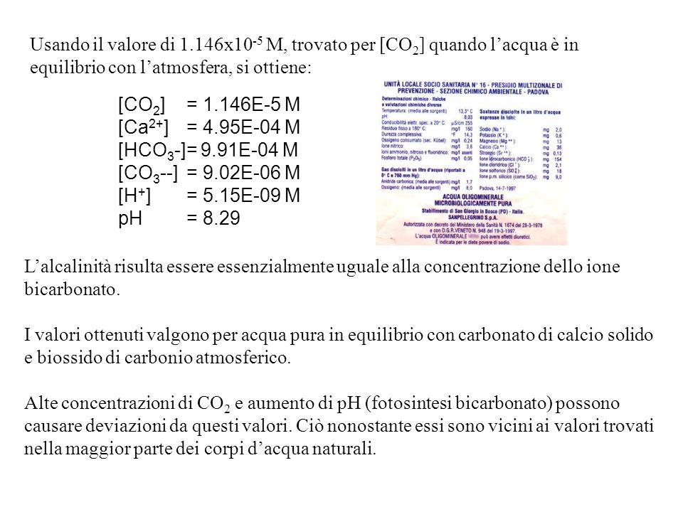 Usando il valore di 1.146x10 -5 M, trovato per [CO 2 ] quando lacqua è in equilibrio con latmosfera, si ottiene: [CO 2 ]= 1.146E-5 M [Ca 2+ ]= 4.95E-04 M [HCO 3 -]= 9.91E-04 M [CO 3 --]= 9.02E-06 M [H + ]= 5.15E-09 M pH= 8.29 Lalcalinità risulta essere essenzialmente uguale alla concentrazione dello ione bicarbonato.