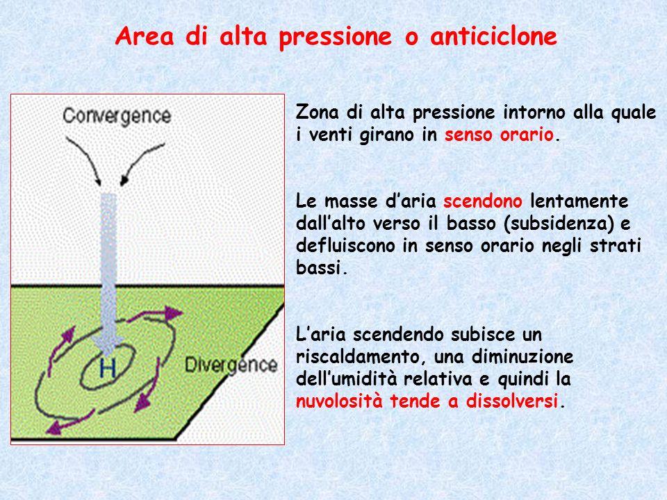 Zona di alta pressione intorno alla quale i venti girano in senso orario. Le masse daria scendono lentamente dallalto verso il basso (subsidenza) e de
