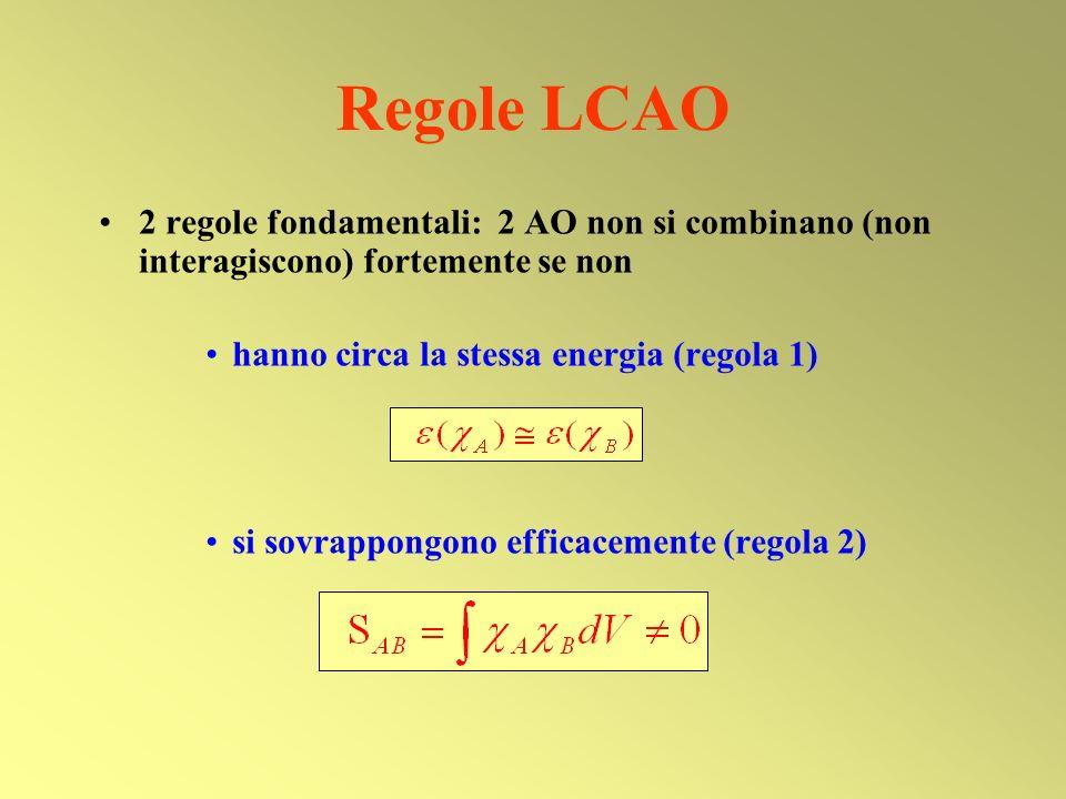 Regole LCAO 2 regole fondamentali: 2 AO non si combinano (non interagiscono) fortemente se non hanno circa la stessa energia (regola 1) si sovrappongo