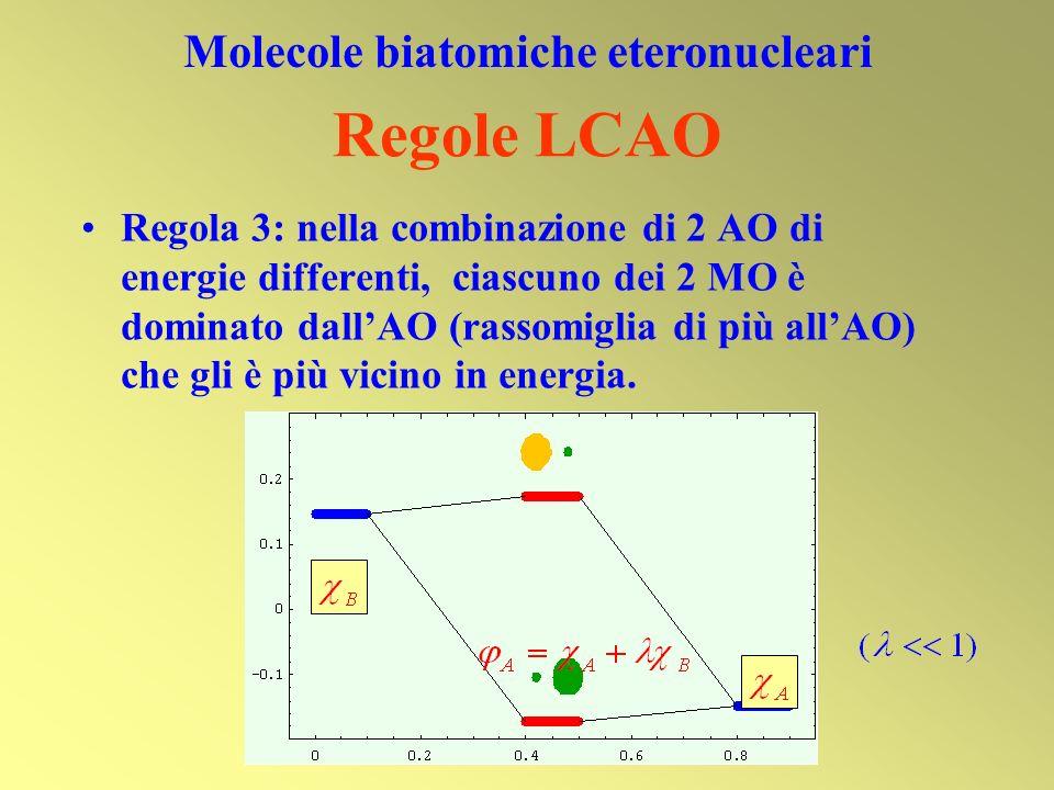 Regola 3: nella combinazione di 2 AO di energie differenti, ciascuno dei 2 MO è dominato dallAO (rassomiglia di più allAO) che gli è più vicino in ene