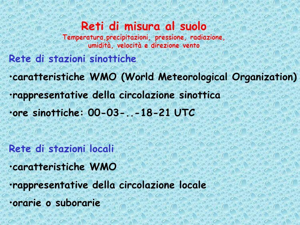 Reti di misura al suolo Temperatura,precipitazioni, pressione, radiazione, umidità, velocità e direzione vento Rete di stazioni sinottiche caratterist