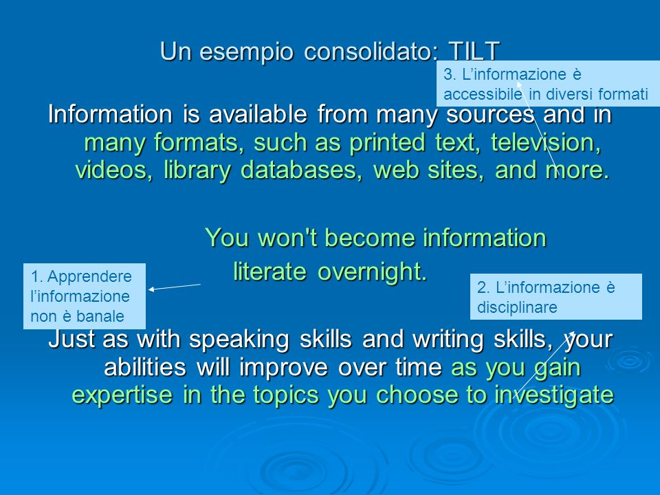 Un esempio consolidato: TILT Information is available from many sources and in many formats, such as printed text, television, videos, library databas