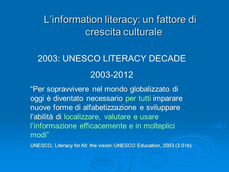 Linformation literacy: un fattore di crescita culturale 2003: UNESCO LITERACY DECADE 2003-2012 Per sopravvivere nel mondo globalizzato di oggi è diven