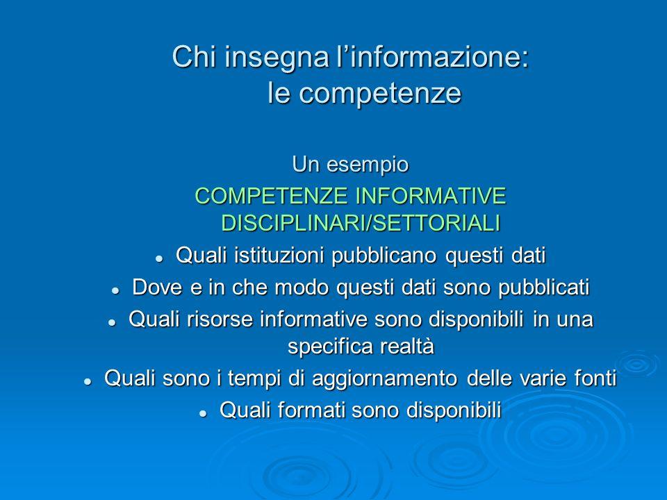 Chi insegna linformazione: le competenze Un esempio COMPETENZE INFORMATIVE DISCIPLINARI/SETTORIALI Quali istituzioni pubblicano questi dati Quali isti