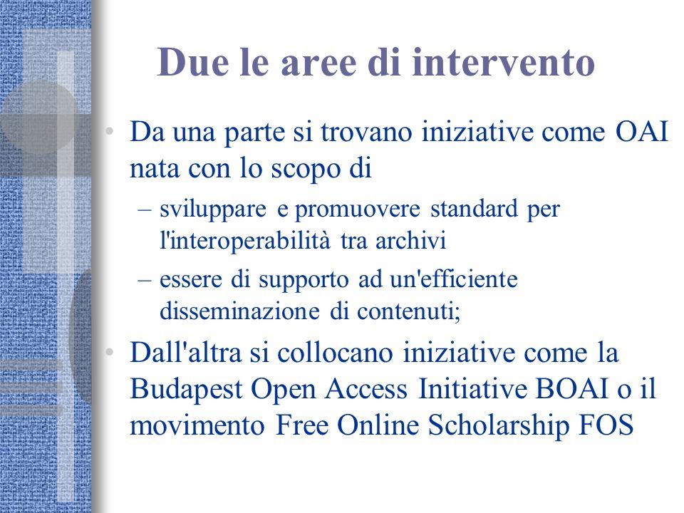 Due le aree di intervento Da una parte si trovano iniziative come OAI nata con lo scopo di –sviluppare e promuovere standard per l'interoperabilità tr