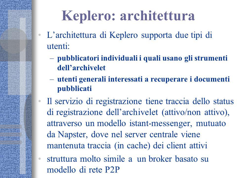 Keplero: architettura Larchitettura di Keplero supporta due tipi di utenti: –pubblicatori individuali i quali usano gli strumenti dellarchivelet –uten