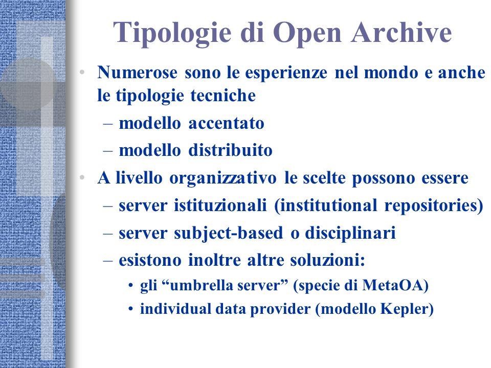 Tipologie di Open Archive Numerose sono le esperienze nel mondo e anche le tipologie tecniche –modello accentato –modello distribuito A livello organi
