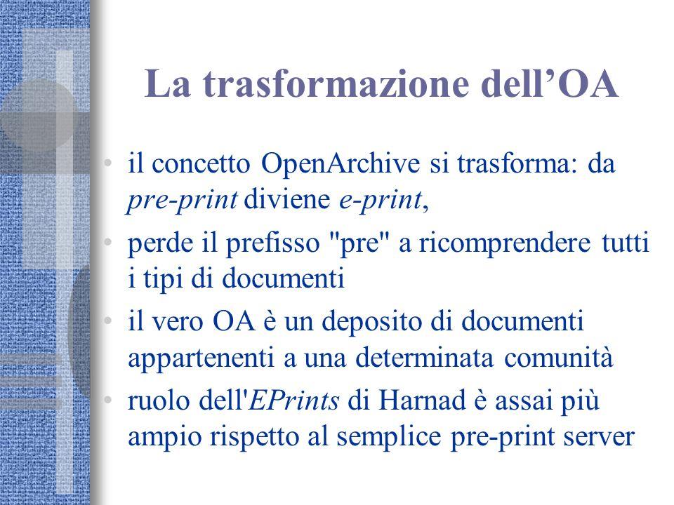 La trasformazione dellOA il concetto OpenArchive si trasforma: da pre-print diviene e-print, perde il prefisso