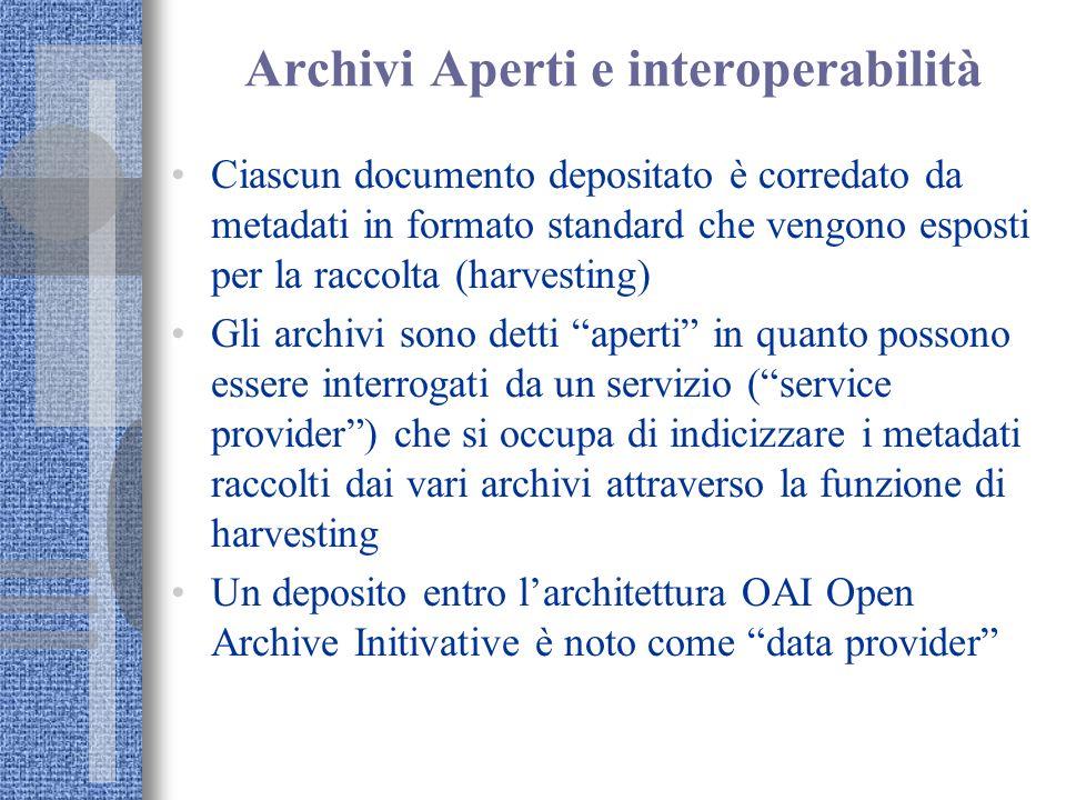 Archivi Aperti e interoperabilità Ciascun documento depositato è corredato da metadati in formato standard che vengono esposti per la raccolta (harves
