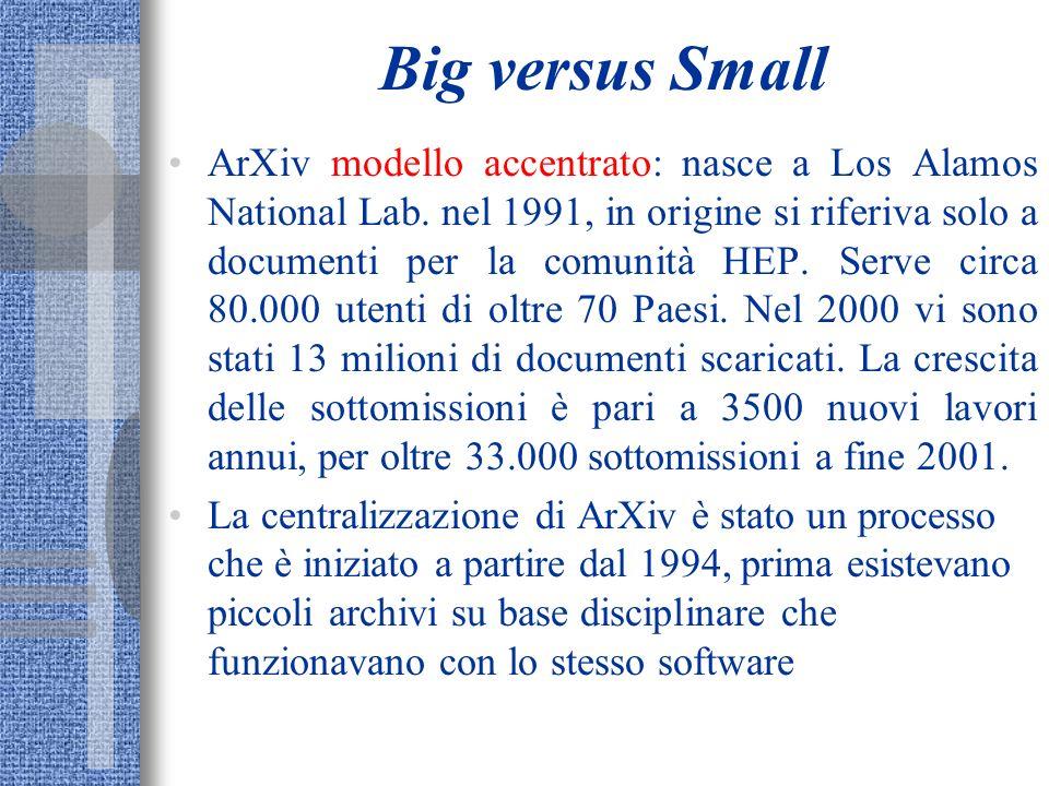 Big versus Small ArXiv modello accentrato: nasce a Los Alamos National Lab. nel 1991, in origine si riferiva solo a documenti per la comunità HEP. Ser