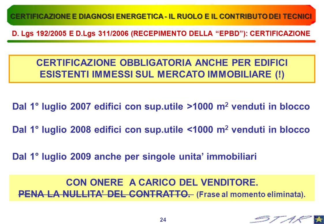 CERTIFICAZIONE OBBLIGATORIA ANCHE PER EDIFICI ESISTENTI IMMESSI SUL MERCATO IMMOBILIARE (!) Dal 1° luglio 2007 edifici con sup.utile >1000 m 2 venduti