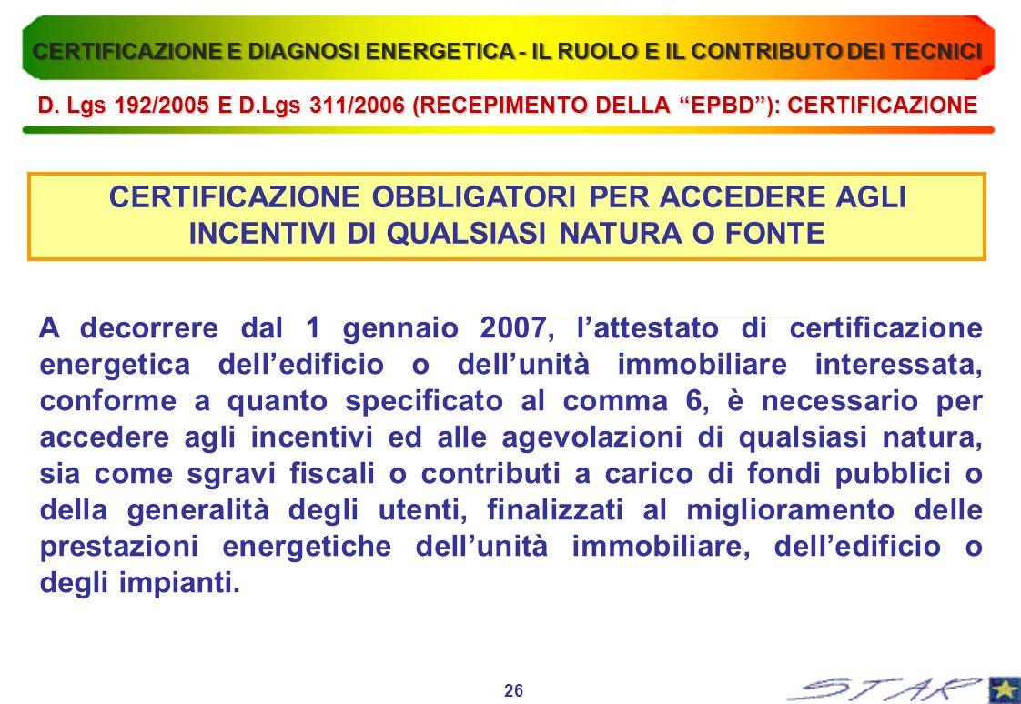 CERTIFICAZIONE OBBLIGATORI PER ACCEDERE AGLI INCENTIVI DI QUALSIASI NATURA O FONTE A decorrere dal 1 gennaio 2007, lattestato di certificazione energe